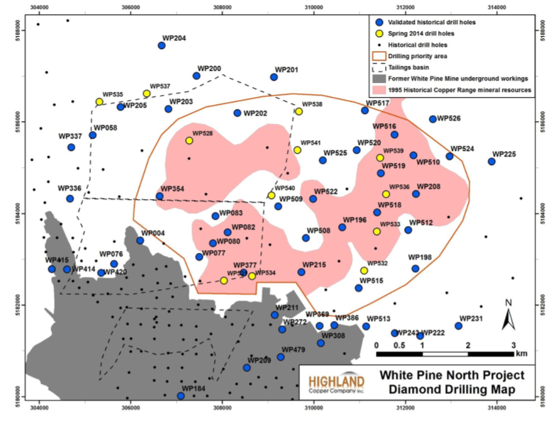 Historical and first phase in-fill drilling map on the White Pine North property