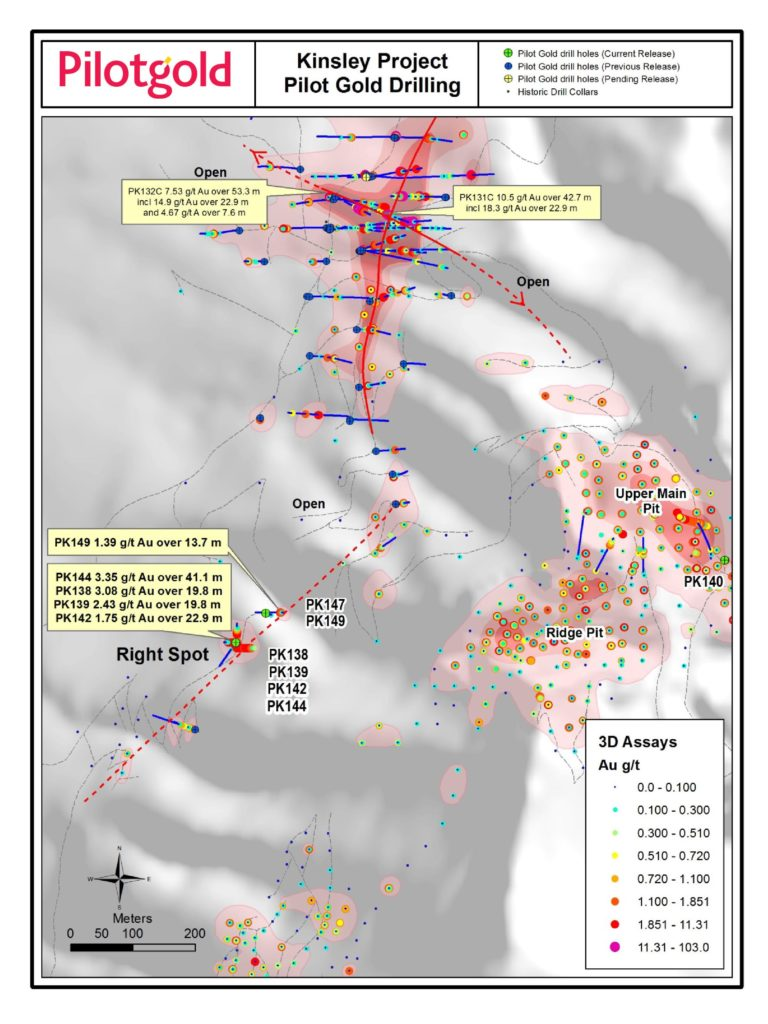 A plan view map of Pilot Gold's 2014 Exploration program