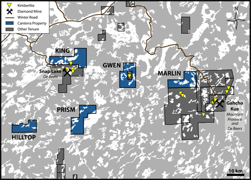 A regional overview of Canterra Minerals diamond projects in NWT, Canada
