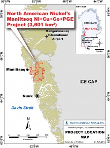 Map of the Greenland Coast, outlining North America Nickel's Maniitsoq property