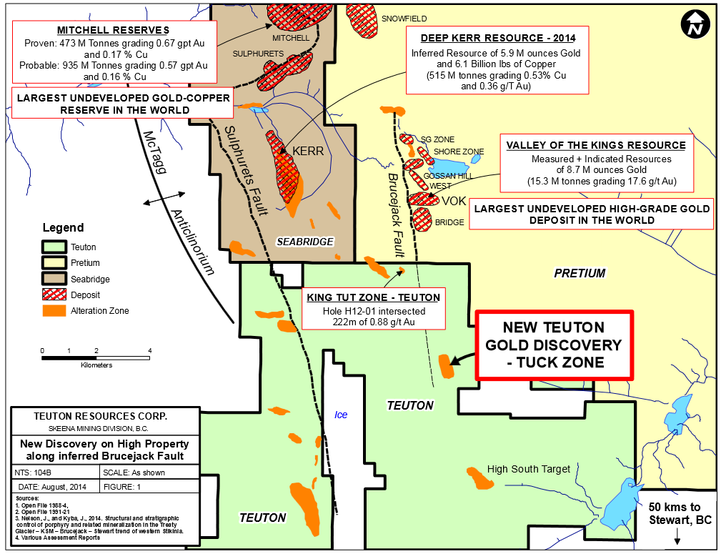 The High property is immediately south of Pretium Resources Brucejack deposit