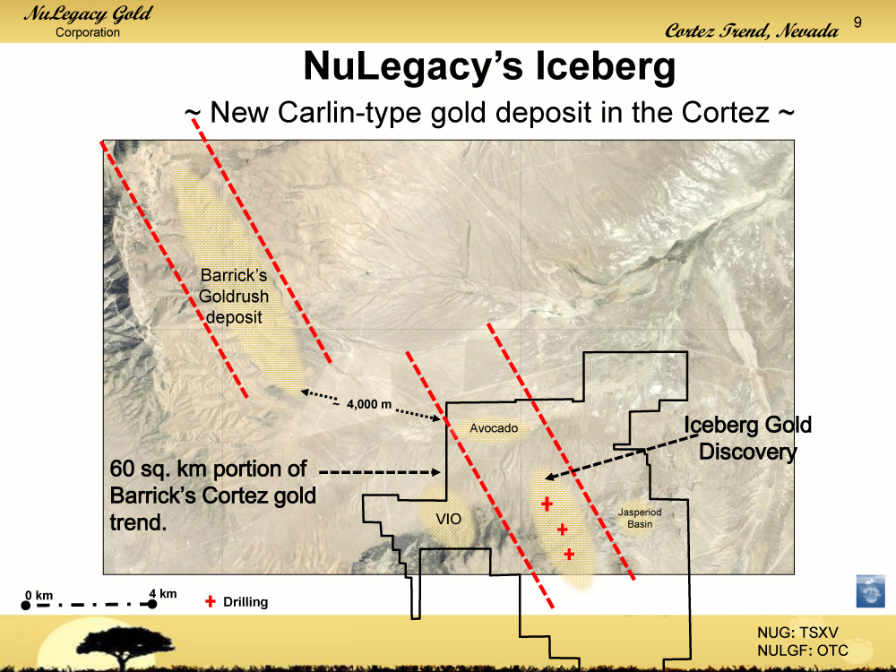 Plan view of NuLegacy's Iceberg deposit with respect to Barrick Gold's Goldrush deposit