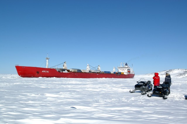 An ore hauling icebreaker, the MV Arctic, used by the logistically-challenged Polaris Mine