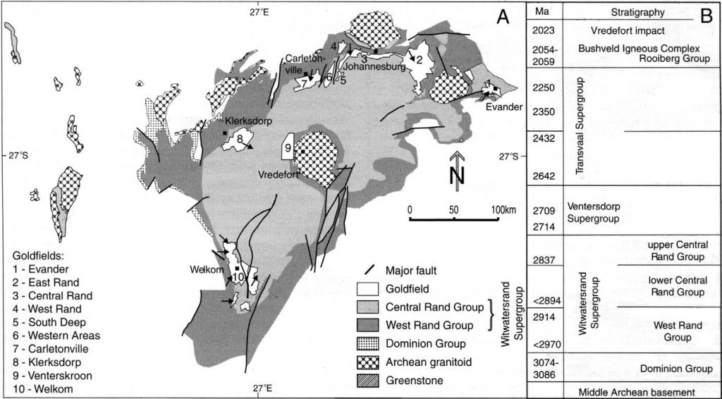 Map of the Witswatersrand Basin, showing ages and major goldfields. From Horscroft et al 2012