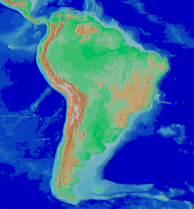 The Andes Mountains are seen in brown running north-south on the left side of South America.