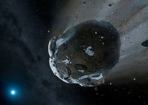 Water is present in some times of asteroids and a key potential commodity for asteroid mining. (Credit: NASA, ESA, M.A. Garlick (space-art.co.uk), University of Warwick, and University of Cambridge.)