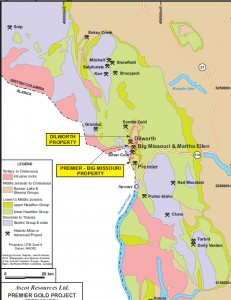 Map of the Regional Geology of the Stewart Camp showing major deposits - Source Ascot 2014 43-101