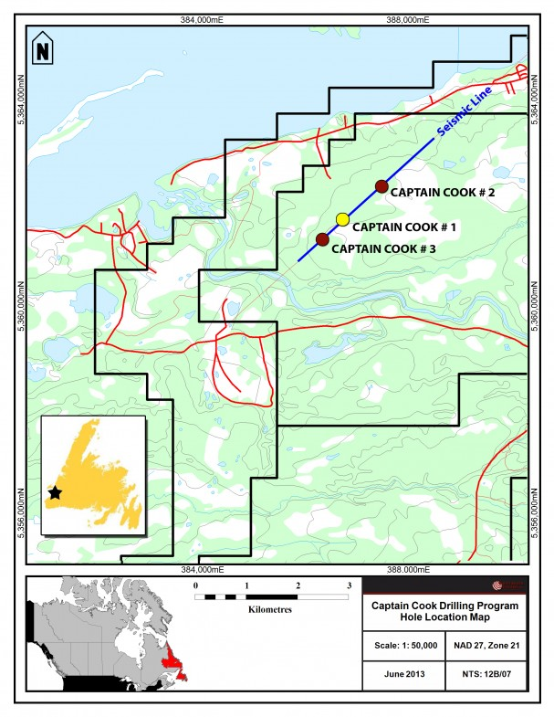"Drill locations for the ""Captain Cook Deposit"" from Red Moon Potash Inc."