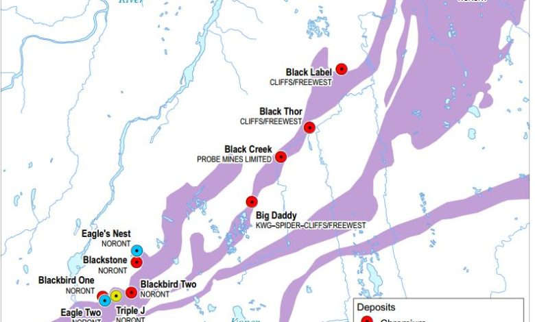 Main deposits and explorers in the Ring of Fire, Ontario