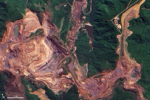 Satellite view of the the world's largest iron mine: The Carajas Mine in Brazil.