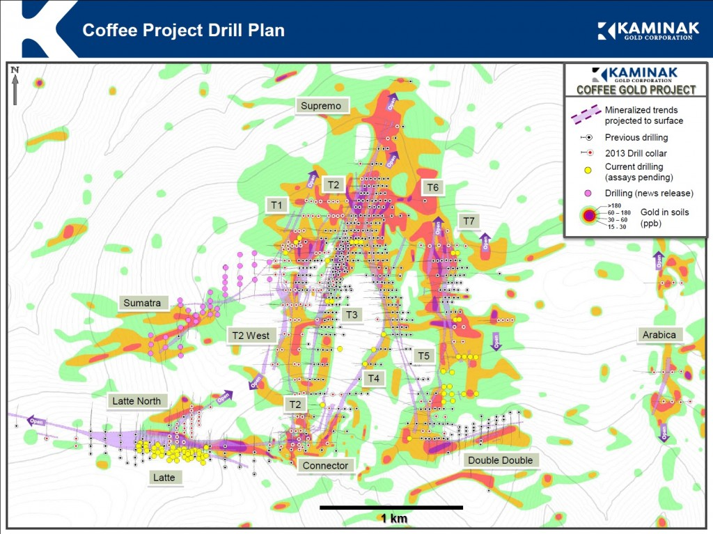 Coffee Project drill plan and soil geochemistry map