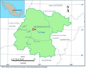 Location of the El Cubo mine, Mexico