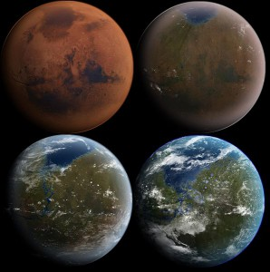 An artist's depiction of terraforming Mars in four stages of development.  Image Credit: CC.
