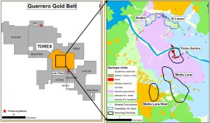 Location of Torex's concession and Media Luna within the Guerrero Gold Belt, Mexico