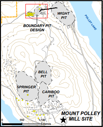 A plan view of the five open-pits within the Mount Polley Mine