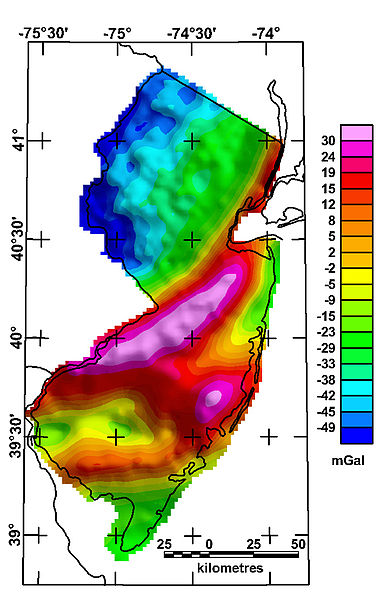 Gravity Anomaly  Map of New Jersey
