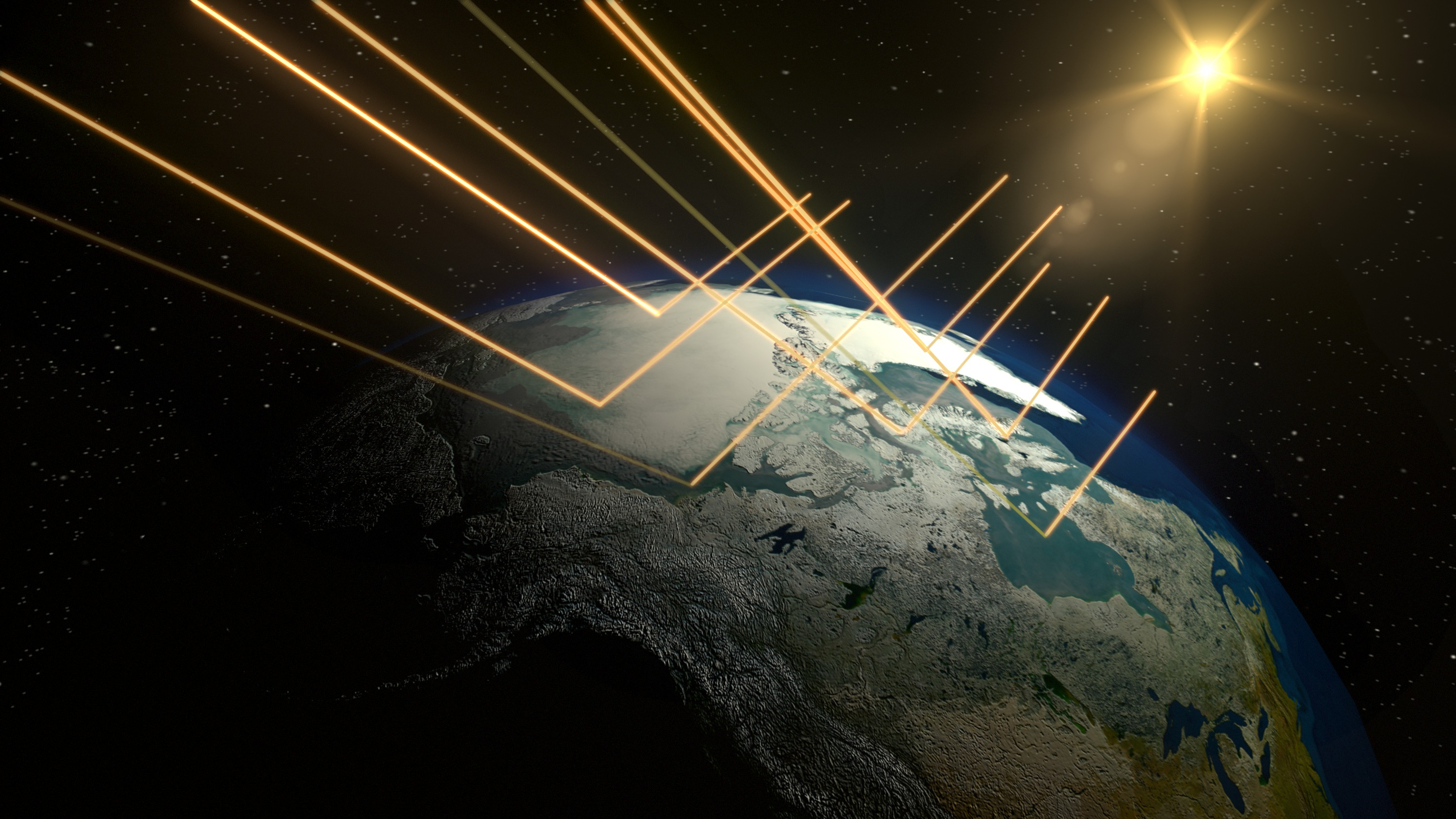 Snow and Ice reflect much more light and heat energy than darker continental or oceanic surfaces