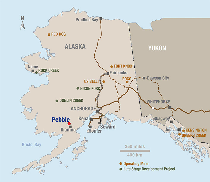 Location of Pebble Deposit in Alaska - Source: Northern Dynasty