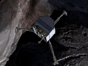 Philae lander closing to the surface of a comet.