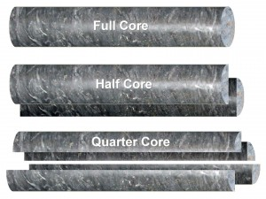 Different saw cuts when sampling drill-core include full core, half core and quarter core