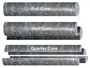 Different saw cuts when sampling drill-core include full core, half core and quarter core