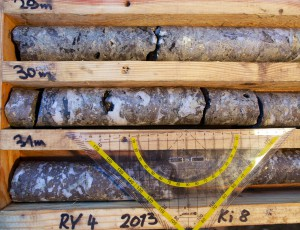 Core from the Rotgülden deposit showing, brecciation, alteration and sulfide mineralization