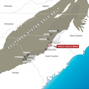 Map of Southeastern Gold Belt Mines including the former Haile Mine being developed by Romarco.