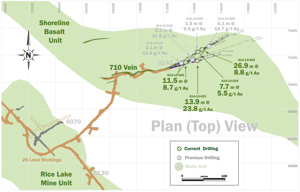 Plan view of the 26 level drilling at San Gold's Rice Lake Mine