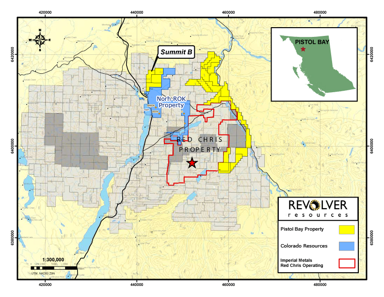 Revolver's Summit Property and it's proximity to neighbours Colorado and Imperial Metals