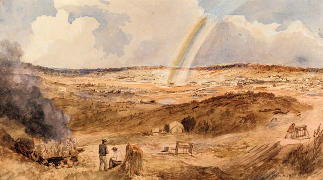 The end of rainbow Golden Square 1857 George Rowe Mines of Australias Bendigo Gold Fields mineral deposits  WMC Navarre gold BHP Bendigo Mining Australia
