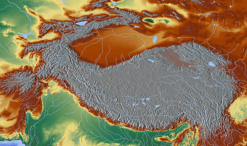 Topography of the Tibetan Plateau. Image CC.
