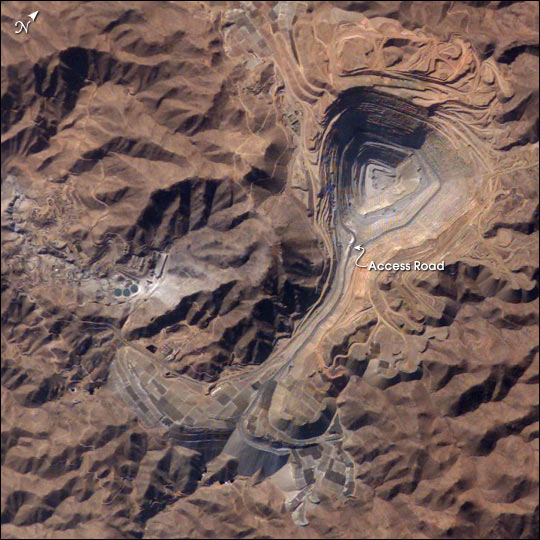 Toquepala open pit copper porphyry mine in southern Peru as seen from the air.
