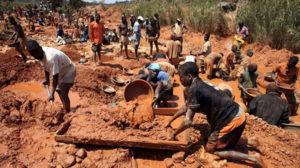 Active artisinal mine site in Africa.