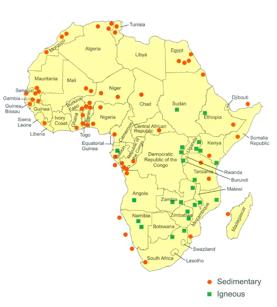 Figure 2: Significant phosphate rock deposits of Africa from VanKauwenbergh (2006).