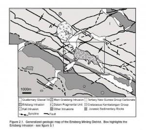 General Geology of the Grasberg-Ertsberg Mining district (from Lynn 2006)
