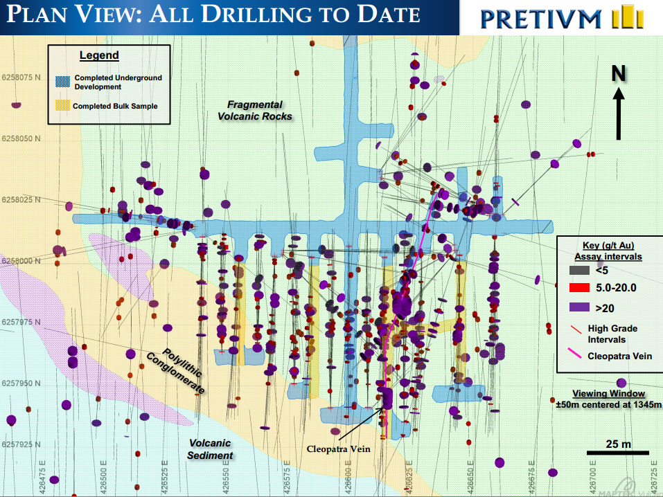 Plan view of the Brucejack project drilling to date including completed underground development and completed bulk sample locations.