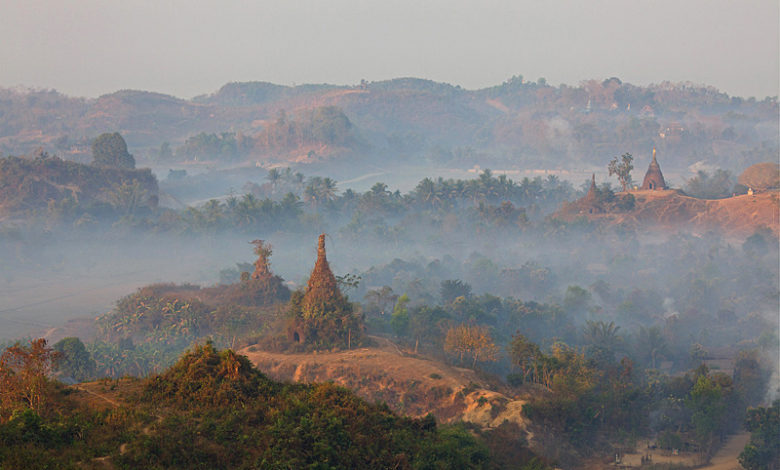 Town of Mrauk U in northern Myanmar