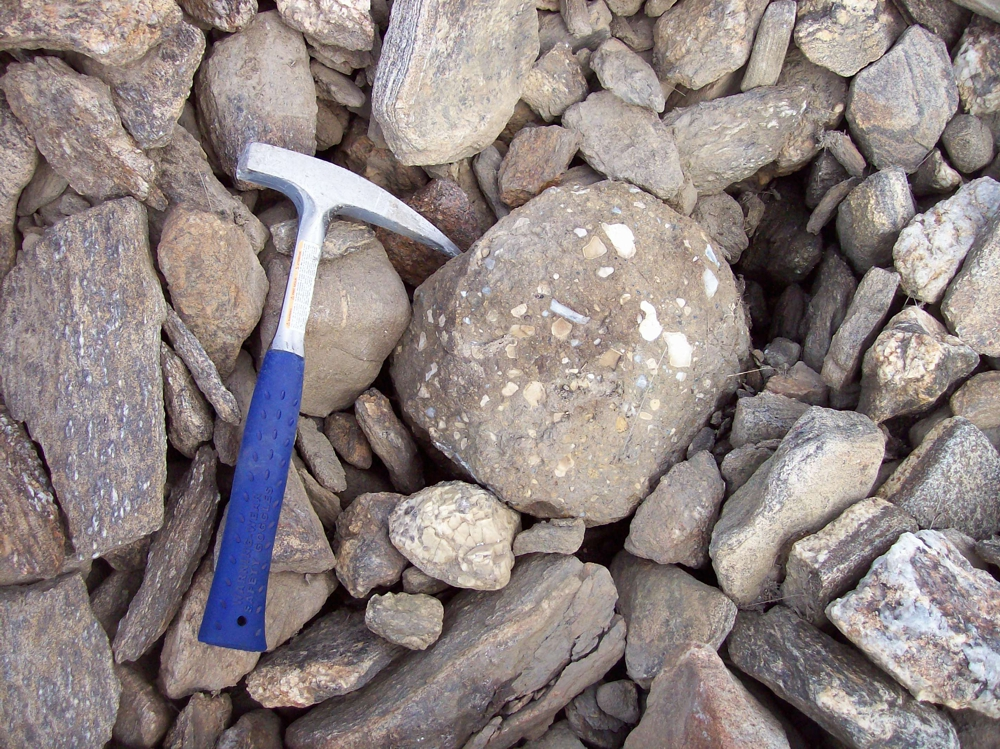 Kimberlite boulder on surface on the Chidliak project on Baffin Island. Source - Peregrine Diamonds.