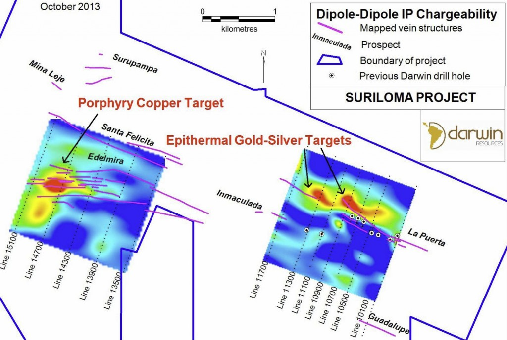 Map of Suriloma IP chargeability at 250 metres depth