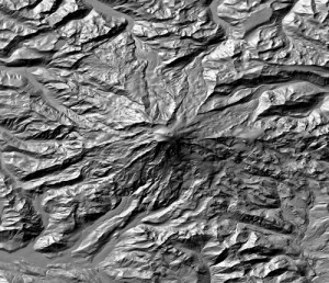 Digital Elevation Model of Mt. Ranier, USA shown in shaded relief.