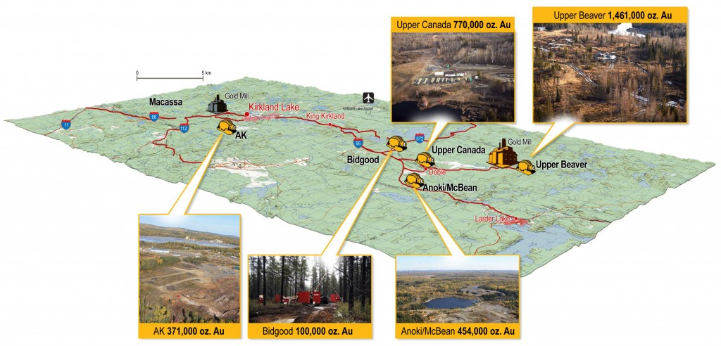 The five Main gold deposits of Osisko's Kirkland Lake Property.