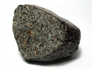 A meteor specimen of the NWA 869 chondrite showing chondrules and metal flakes. Image Credit: Wikipedia Creative Commons.