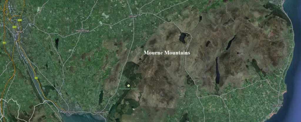 Location of the Mourne Mountains.  Image Credit: Google Earth