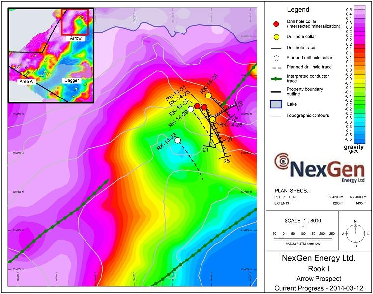 NexGen Arrow Prospect planned and previous drill hole locations as shown on their gravity survey map.