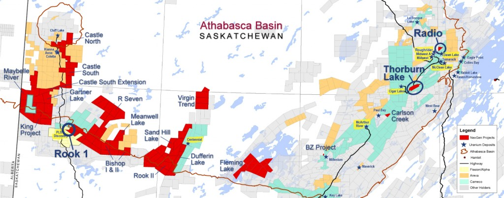 NexGen's land positions are shown in Red on this map of Athabasca Basin uranium properties.