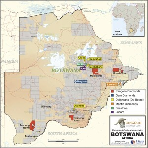 Map of Pangolin's diamond exploration projects in Botswana.