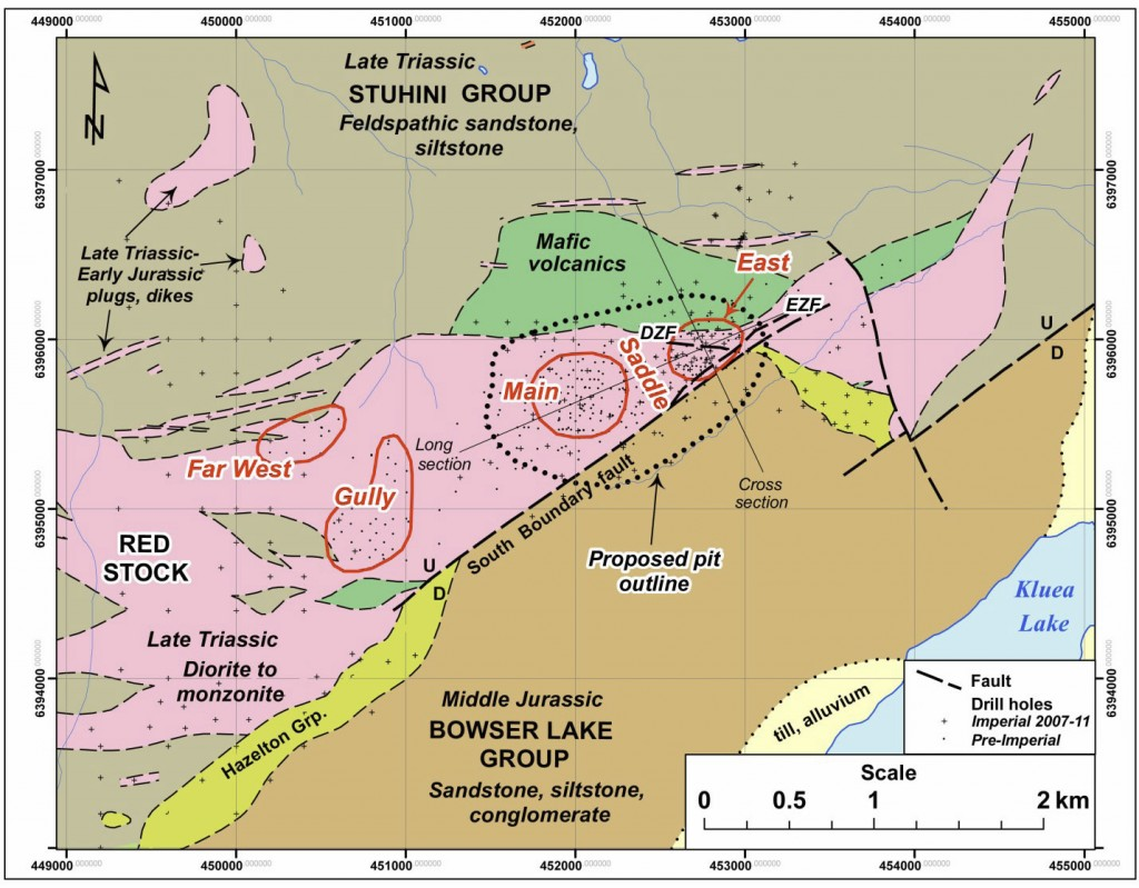 Red Stock and Red Chris Mineral Zones, with Surrounding Geology from the Red Chris Technical Report