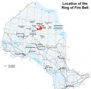 Location of the Ring of Fire in Northern Ontario, Canada.