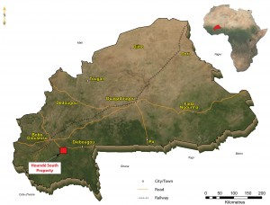 Location of Savary's Hounde South property in western Burkina Faso