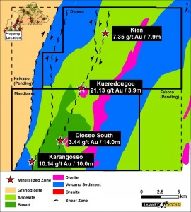 Geology of the Hounde South property. Note the higher grades along the shear zone.